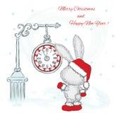 Милые зайцы под часами invitation new year Рождество также вектор иллюстрации притяжки corel Стоковые Изображения RF