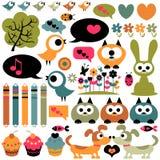Милые животные элементов scrapbook иллюстрация штока