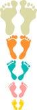 Милые и красочные следы ноги семьи Стоковая Фотография RF