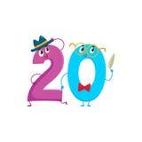 Милые и смешные красочные 20 нумеруют характеры, приветствия дня рождения Стоковое Изображение