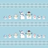 Милые и смешные снеговики семьи голубая тень орнамента иллюстрации цветка рождества Вектор установленный ic Стоковые Изображения RF