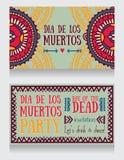 Милые карточки приглашения для dia de los muertos Стоковые Фотографии RF