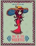 Милые карточки приглашения для dia de los muertos Стоковое Изображение RF