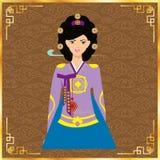 Милые корейские девушки в национальном платье вектор техника eps конструкции 10 предпосылок Иллюстрация штока