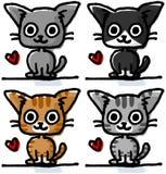 Милые коты покрашенный вручную Стоковое Изображение