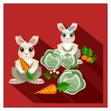 Милые кролики в саде Стоковое фото RF