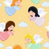 Милые маленькие ангелы летая в небо Стоковая Фотография