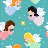 Милые маленькие ангелы летая в небо Стоковое фото RF