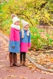 Милые маленькие девочки в красочных пальто в красивом дне осени outdoors Стоковое Изображение