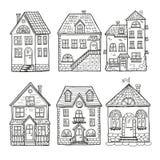 Милые маленькие дома и различные крыши Иллюстрация вектора Doodle дома иллюстрация вектора
