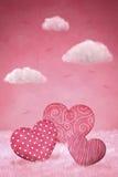 Милые маленькие сердца на розовой предпосылке Стоковое Фото