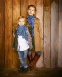 Милые маленькие сестры нося одежды осени Стоковая Фотография