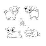 Милые мопсы Одежды любимчика бесплатная иллюстрация