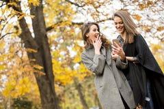 Милые молодые женщины в парке осени Стоковая Фотография RF