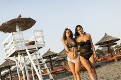 Милые молодые женщины ослабляя на пляже Стоковая Фотография