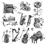 Милые музыкальные инструменты черноты акварели включая рояль, скрипку, саксофон, барабанчик, и другое, винтажный стиль иллюстрация вектора
