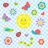 Милые насекомые и цветки Стоковое Изображение