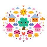 Милые дома, дерево, солнце, грибы, цветки и шарж детей облаков vector иллюстрация Стоковое Изображение RF