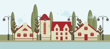 Милые дома с красными крышами, уличными фонарями и деревьями Квартиры для ренты или продажи, недвижимости иллюстрация вектора