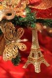Милые орнаменты рождества в золоте и красном цвете Стоковые Фото