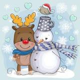 Милые олени и Санта рождества иллюстрация вектора