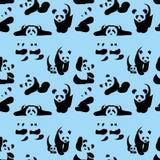 Милые панды - силуэты Стоковое Изображение
