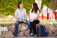 Милые пары студентов на школе Стоковые Изображения