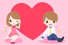 Милые пары шаржа с сердцем Стоковое фото RF