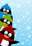 Милые пингвины на предпосылке зимы иллюстрация штока