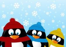 Милые пингвины шаржа на предпосылке зимы иллюстрация штока