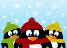 Милые пингвины шаржа на предпосылке зимы бесплатная иллюстрация