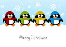 Милые пингвины шаржа иллюстрация вектора