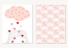 Милые поздравительные открытки на день ` s валентинки Бесплатная Иллюстрация