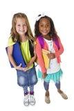 Милые разнообразные студенты школы изолированные на белизне Стоковое Изображение