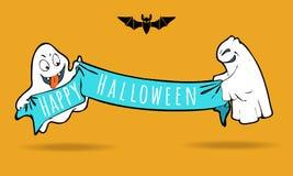 Милые смешные призраки с знаменем праздника партия, котор нужно приветствовать Иллюстрация штока