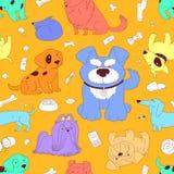 милые собаки Безшовная предпосылка картины Стоковая Фотография RF