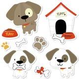 милые собаки младенца и элементы щенка бесплатная иллюстрация