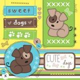 Милые собаки с иллюстрацией печати лапки Стоковое Фото