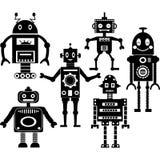 Милые собрания силуэта робота Стоковые Изображения