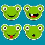 Милые стикеры лягушки Стоковые Изображения