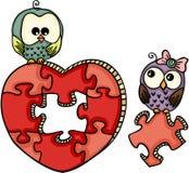 Милые сычи с головоломкой сердца форменной иллюстрация вектора