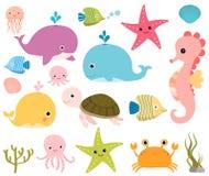 Милые твари - морские животные Бесплатная Иллюстрация