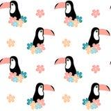 Милые тропические цветки и toucan безшовная иллюстрация предпосылки картины Стоковые Фото