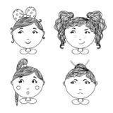 Милые установленные значки вектора девушки Вручите вычерченную иллюстрацию для ткани одеяния или ребенк, карточки, штыря, дизайна Стоковое Изображение