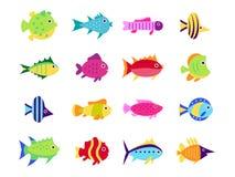 Милые установленные значки иллюстрации вектора рыб Стоковые Изображения