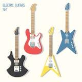 Милые установленные иллюстрации гитар вектора Стоковая Фотография