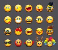 Милые установленные смайлики, emoji - иллюстрация иллюстрация штока