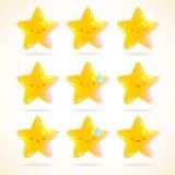 Милые установленные эмоции звезды шаржа Стоковые Фото