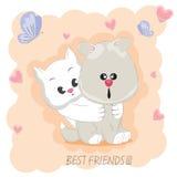 Милые лучшие други кот и собака Стоковое Изображение