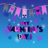 Милые флаги идеальные на день валентинок, свадьба, день рождения, bridal ливень, детский душ, ретро украшение партии Стоковые Изображения RF